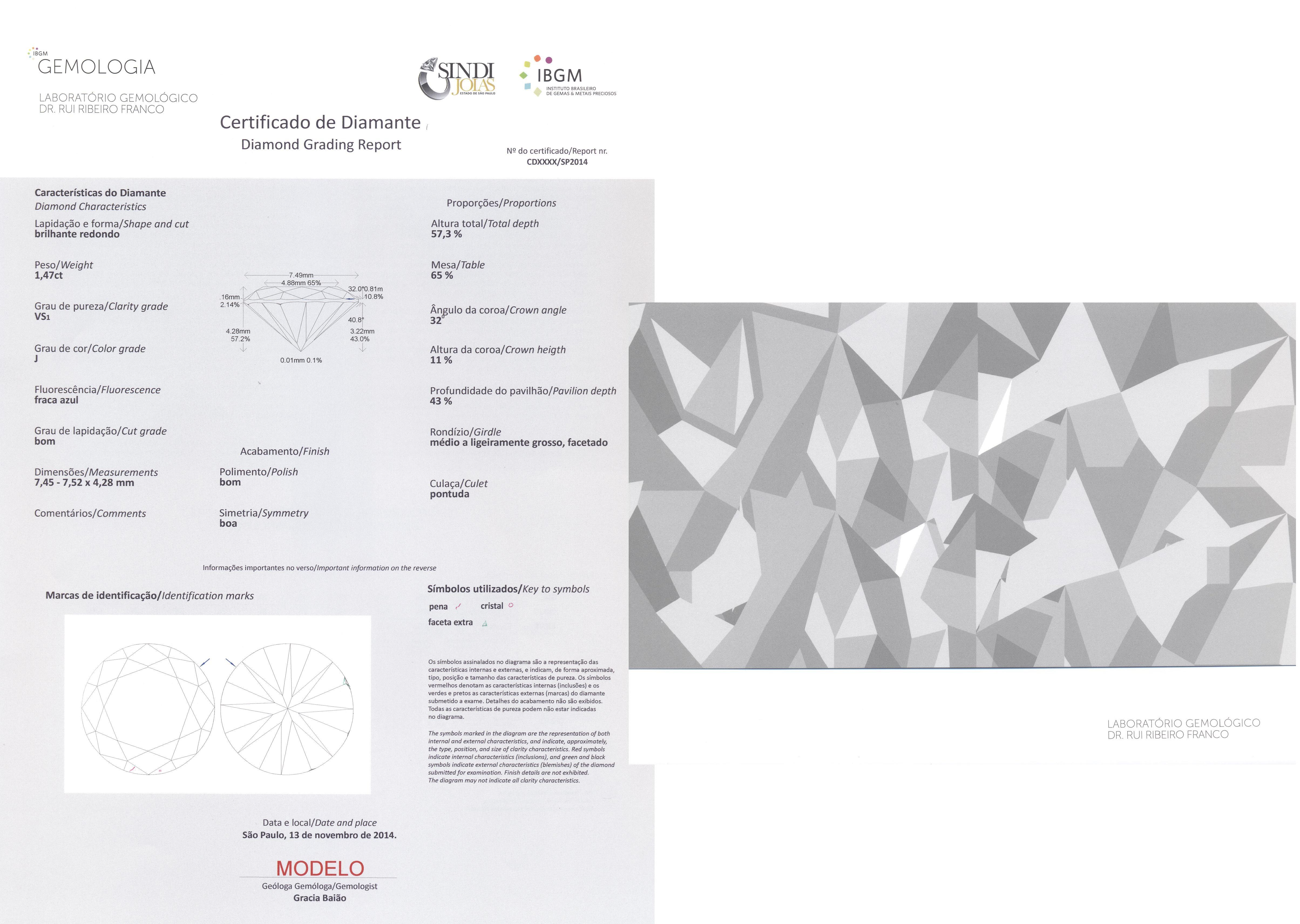 Documento de Classificação de Diamante - Laboratório Gemológico